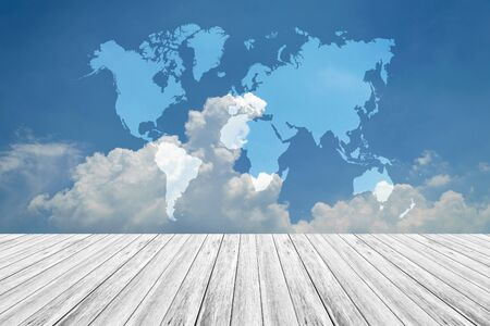 Nature cloudscape with blue sky and white cloud with Wood terrace and world map