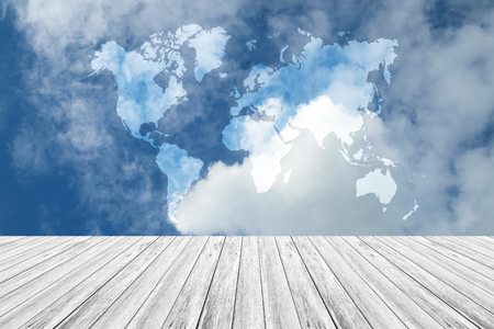 Nature cloudscape with blue sky and white cloud with Wood terrace, Map