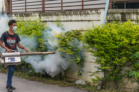 malaria: Bangkok, Thailand - July 3, 2016 : Unidentified people fogging DDT spray for mosquito kill and protect by control mosquito is a carrier of Malaria, Encephalitis, Dengue and Zika virus in village. Editorial