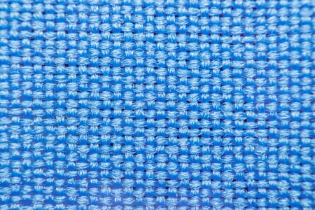 Macro of fabric weave texture surface blue or indigo blue color use for background