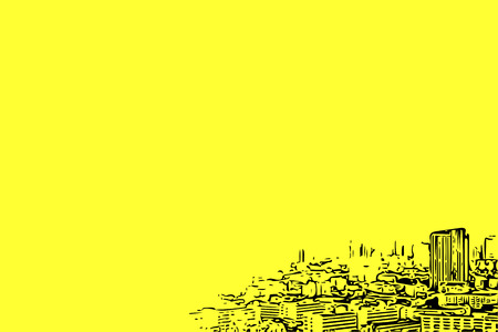Sketch drawing of cityscape in city and construction concept on yellow background with copy space use for artwork, template or slideshow