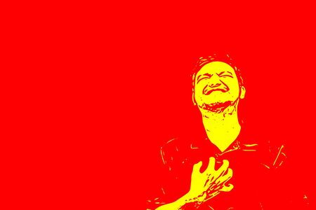 Sketch drawing of man pain from disease heart attack in healthcare and angina concept on red background with copy space use for artwork, template or slideshow Stock Photo