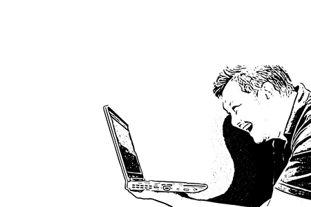 Sketch drawing of man holding computer notebook or laptop with laughing and smile in happiness and cheerful concept on white background with copy space use for artwork, template or slideshow