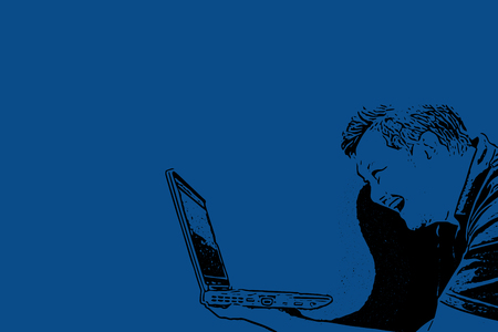 Sketch drawing of man holding computer notebook or laptop with laughing and smile in happiness and cheerful concept on blue background with copy space use for artwork, template or slideshow