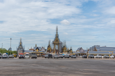 structuring: Bangkok, Thailand - August 25, 2017 : Construction site of The royal funeral pyre for HM King Bhumibol Adulyadej at Sanam Luang prepared to be used as The royal funeral at October 25, 2017 Editorial