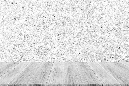 Stone wall texture background surface natural color , process in white color with wood terrace