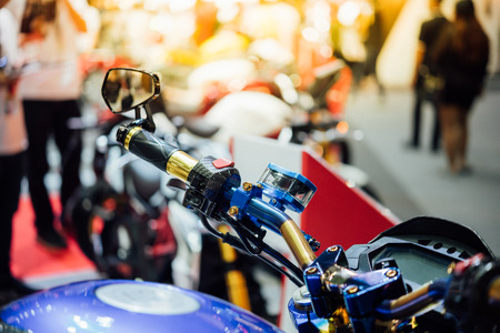 Some parts of the motorcycle in car show event. This a open event no need press credentials required. Stock Photo