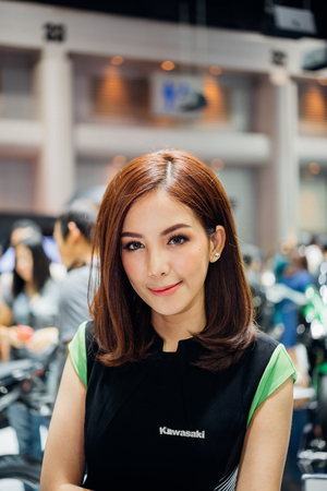 Bangkok, Thailand - December 10, 2017 : Unidentified model pretty lady on display in car show event. This a open event no need press credentials required.