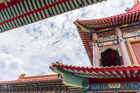 Nonthaburi , Thailand - July 9, 2016 : Wat Boromracha Kanchanapisek Anusorn (Leng Noei Yi 2) is a Chinese temple under the patronage of the Chinese Buddhist Sangha in Thailand or Mahayana Buddhism.