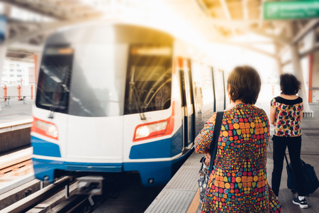 Bangkok, Thailand - January 17, 2018 : BTS skytrain train runs in Bangkok. Many people in Bangkok used skytrain to save time.
