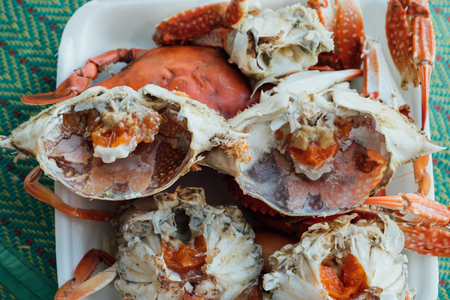 Boiled or steamed sea flower crab premium grade is a seafood display for sale at Thai street food market or restaurant in Bangkok Thailand Stock fotó