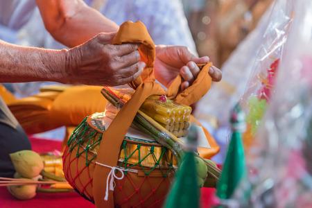 Ordination ceremony in buddhist Thai monk ritual for change man to monk in ordination ceremony in buddhist in Thailand Stock fotó