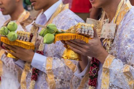 Ordination ceremony in buddhist Thai monk ritual for change man to monk in ordination ceremony in buddhist in Thailand Stock Photo