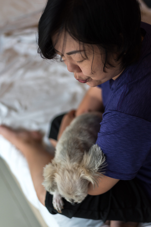 Asian woman and dog happy smile hugging her pat is a dog so cute mixed breed with Shih-Tzu, Pomeranian and Poodle on bed with white veil in bedroom at home or hotel