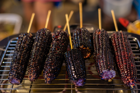 Roasted or Grilled Purple Corn (Black Glutinous Corn) for sale at Thai street food market or restaurant in Thailand