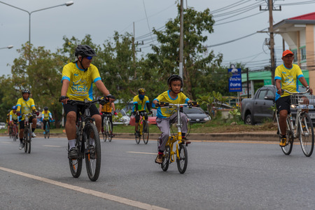 Ang Thong, Thailand - December 9, 2018 : Bike Un Ai Rak 2018 event on bypass road in Ang Thong. Numerous major roads in Thailand were closed for the Bike Un Ai Rak event, to be held across the country