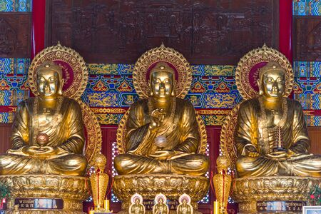 Nonthaburi , Thailand - March 11, 2019 : Wat Boromracha Kanchanapisek Anusorn (Leng Noei Yi 2) is a Chinese temple under the patronage of the Chinese Buddhist Sangha in Thailand or Mahayana Buddhism. Sajtókép