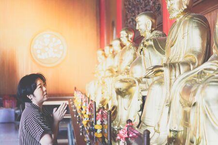 Wat Boromracha Kanchanapisek Anusorn (Leng Noei Yi 2) is a Chinese temple under the patronage of the Chinese Buddhist Sangha in Thailand or Mahayana Buddhism. Stock Photo