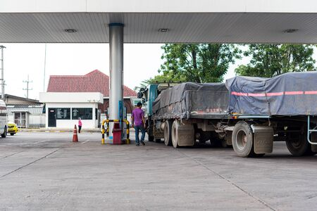 Prachinburi, Thailand - April 7, 2019 : Petrol station or Gas station are available throughout the country service for trailer truck and drive the industry the countrys transportation sector Editöryel