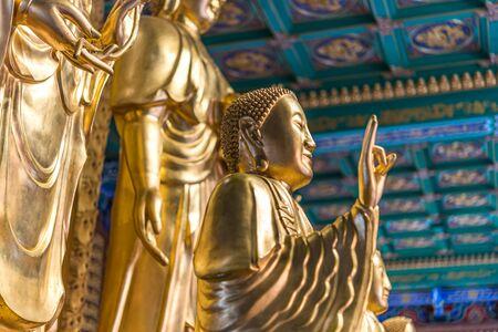 Nonthaburi , Thailand - March 11, 2019 : Wat Boromracha Kanchanapisek Anusorn (Leng Noei Yi 2) is a Chinese temple under the patronage of the Chinese Buddhist Sangha in Thailand or Mahayana Buddhism. Editöryel