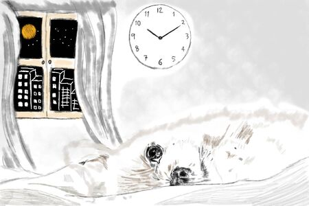 Sketch and drawn with painted simple digital graphic illustration design of The lonely dog waiting a owner come to home with sad and  lonely Imagens