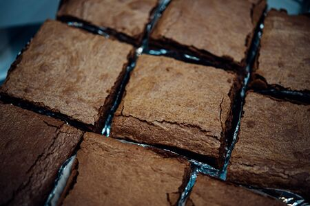Chocolate brownie (brownie) is dessert a square, baked, chocolate dessert for sale in sweet dessert shop at Thai street food market