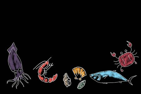 Sketch and drawn with painted simple digital graphic illustration design of Seafood menu on board with shrimp shellfish crab fish and squid