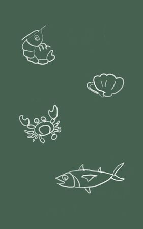 Sketch and drawn with painted simple digital graphic illustration design of Seafood menu on board with shrimp shellfish crab and fish Imagens