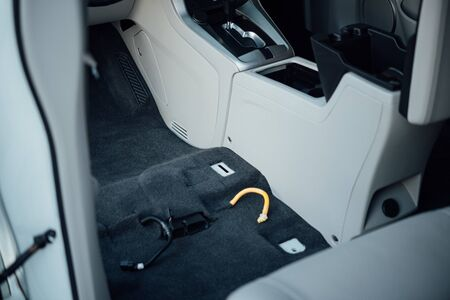 Car Care Staff Cleaning Car Interior Clean The Floor Mats And
