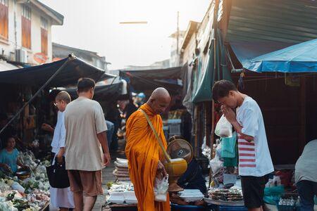 Samut Songkhram, Thailand - September 28, 2019 : Maeklong Market (Talat Rom Hup) market on the Railway Track (Maeklong Railway Market) located Phet Samut Rd, Mae Klong, Mueang Samut Songkhram