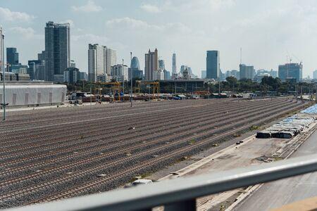 Bangkok, Thailand - November 16, 2019 : Construction site of Railroad tracks for railway train in Bangkok city is a big infrastructure for transportation in Bangkok Thailand. Redactioneel