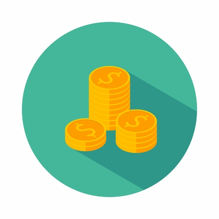 Coin, Dollar, Isometric, Pile of money, Finance, Business, Vector, Flat icon, Dollars Bundles, Gold stack of dollar coins, Money illustration of wealth and condition.