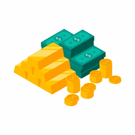 Gold Bars Pile, Dollars Bundles, Money, Dollar, Pile of money, Coin, Isometric, Finance, Business, No background, Vector, Flat icon, Money illustration of wealth and condition.