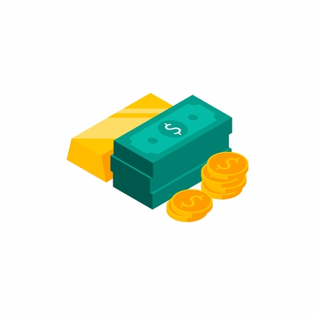 Gold bar, Dollars Bundles, Money, Dollar, Pile of money, Coin, Isometric, Finance, Business, No background, Vector, Flat icon, Money illustration of wealth and condition.