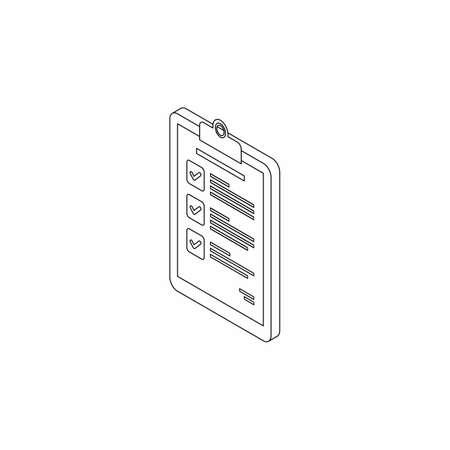 Checklist Isometric left view - Black Outline icon vector isometric.
