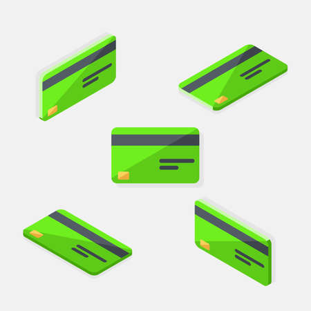 Credit card Green Isometric  Flat icon vector.
