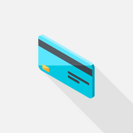 Credit card left view icon vector isometric. Vectores