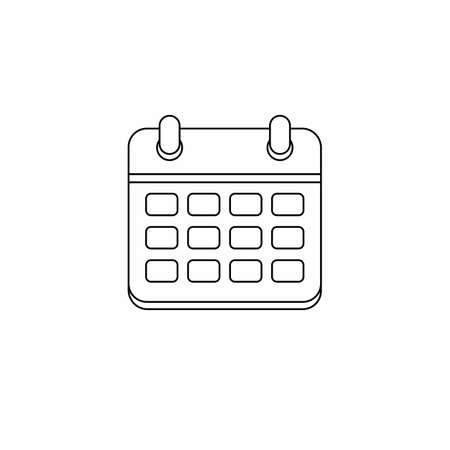 Calendar - Black Outline icon vector isolated.