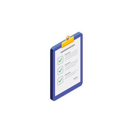 Checklist Isometric right view - White Background icon vector isometric.