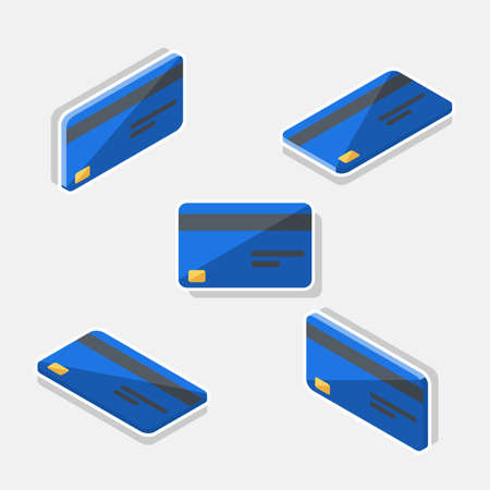 Credit card Blue Isometric  Flat - White Stroke Shadow icon vector.