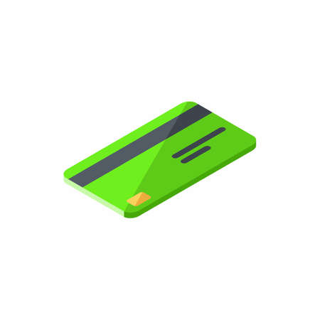 Credit card Green right view - White Background icon vector isometric.