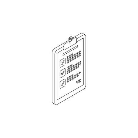 Checklist Isometric right view - Black Outline icon vector isometric.