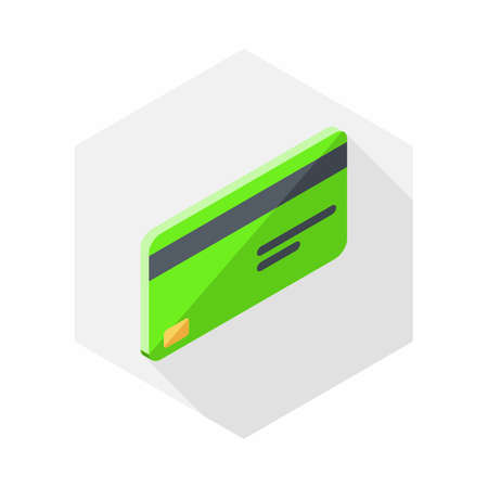 Credit card Green right view icon vector isometric.