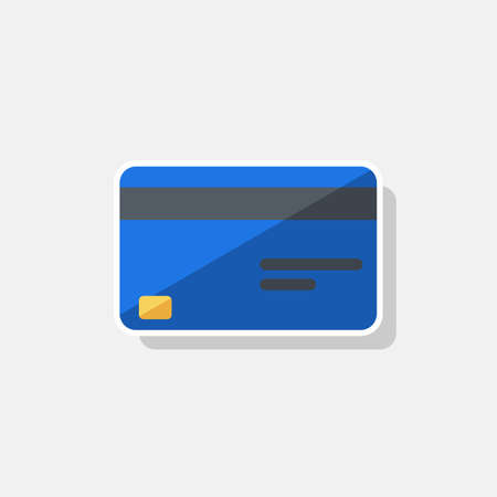 Credit card Blue - White Stroke Shadow icon vector isolated.