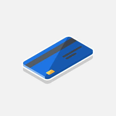 Credit card Blue right view - White Stroke Shadow icon vector isometric.