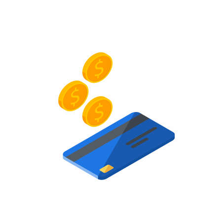 Cash get a bank card Blue right view - White Background icon vector isometric.