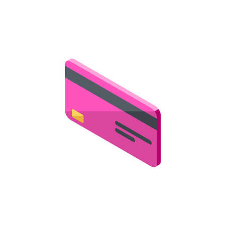 Credit card Pink left view - White Background icon vector isometric.