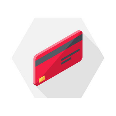 Credit card Red right view icon vector isometric.