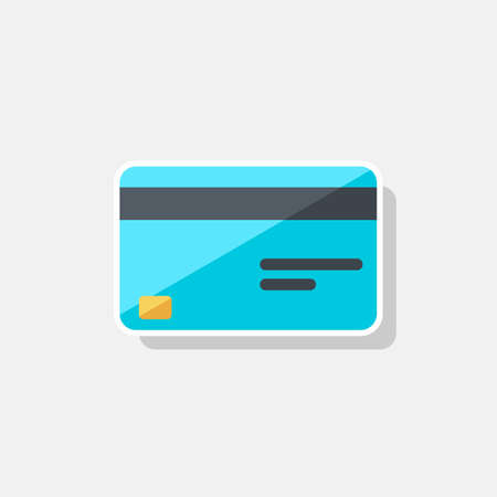 Credit card - White Stroke Shadow icon vector isolated.