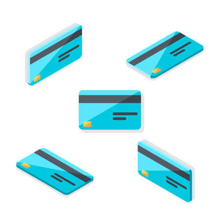 Credit card Isometric Flat - Shadow icon vector.